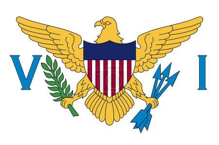 Illustration pour Drapeau des îles Vierges des États-Unis est un groupe d'îles dans les Caraïbes et un territoire non incorporé et organisé des États-Unis. Illustration vectorielle - image libre de droit