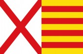Flag of L'Hospitalet de Llobregat of Barcelona in Catalonia Spa