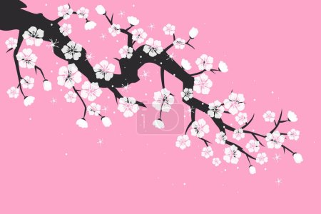 Photo for Cherry blossom, sakura flowers on pink background. Vector Illustration. - Royalty Free Image