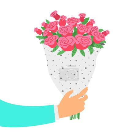 Illustration for Man holds a bouquet of roses. St. Valentine's day and Women's Day concept. Vector illustration. - Royalty Free Image