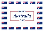 Happy Australia Day Vector Banner for Australia National Day with Australian flags Greeting card poster holiday background template Blue red illustration