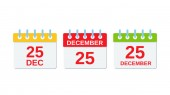 25 December Christmas calendar icon Vector color illustration