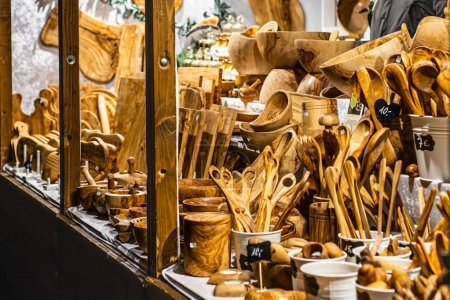 Bonn Germany 17.12.2017 shop selling Wood working, making wooden kitchen tools and decoration Christmas market