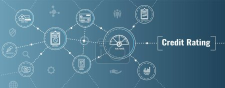 Illustration pour Bannière Web d'en-tête de notation de crédit w Ensemble d'icônes de dette, de carte de crédit et de pointage de crédit - image libre de droit