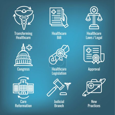 Illustration for Health Laws and Legal icon set | various aspects of the legal system - Royalty Free Image