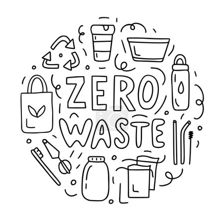 Illustration for Zero waste. Round composition with hand lettering and doodle elements. Black and white doodle style illustration for postcards, coloring books and others. - Royalty Free Image