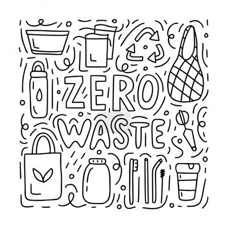 Illustration for Zero waste doodle concept. Black and white vector illustration for postcards, shops or for coloring book. - Royalty Free Image