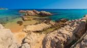 Santa Cristina beach in Lloret de Mar, Costa Brava, Spain on sun