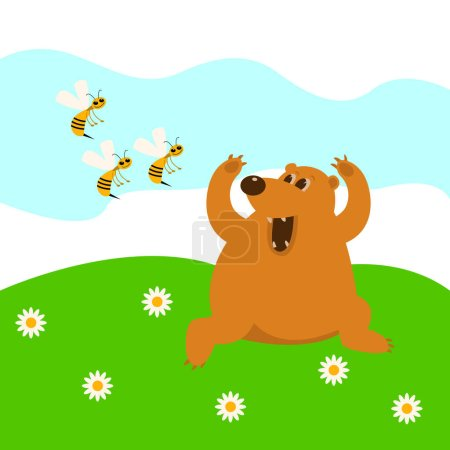 The bear flees from bees vector illustration  cartoon