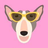 dog  face vector illustration flat style front