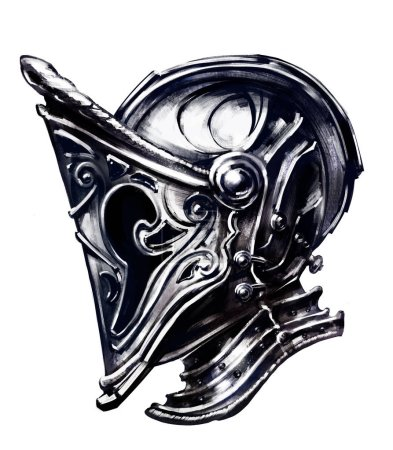 Knight's helmet made in an unusual style...