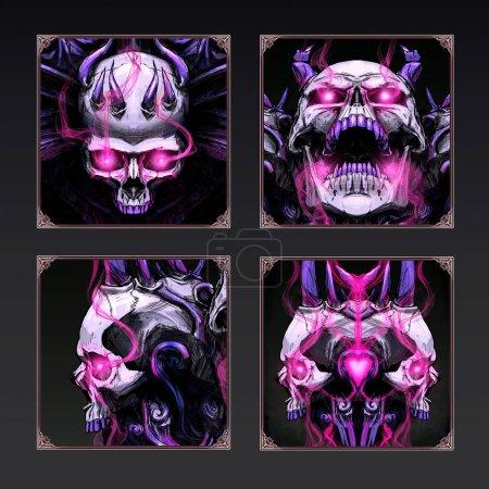 Photo pour Icônes avec des crânes sinistres - image libre de droit
