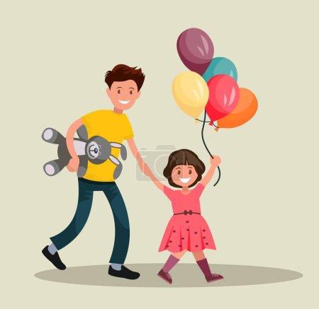 Illustration pour Festival des enfants. Père et fille s'amusent ensemble. Illustration vectorielle du design plat - image libre de droit