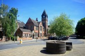 BURTON UPON TRENT, UK - APRIL 14, 2018 - View of the Victorian Town Hall in King Edward Place, Burton upon Trent, Staffordshire, England, UK, Western Europe, April 14, 2018.