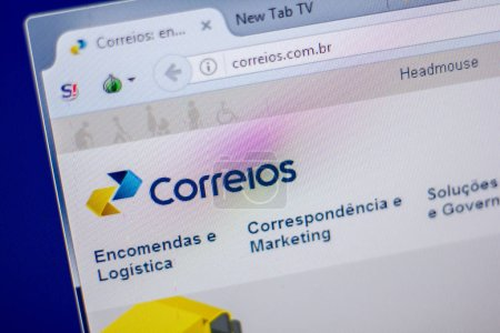 Ryazan, Russia - June 05, 2018: Homepage of Correios website on the display of PC, url - Correios.com.br