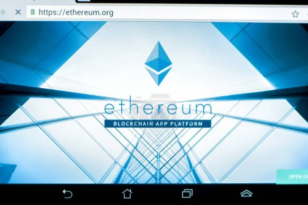 Ryazan, Russia - March 29, 2018 - Homepage of Ethereum cryptocurrency on a display of tablet PC