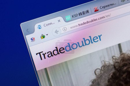 Ryazan, Russia - June 16, 2018: Homepage of TradeDoubler website on the display of PC, url - TradeDoubler.com