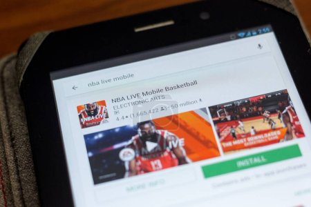 Photo for Ryazan, Russia - July 03, 2018: NBA LIVE Mobile Basketball mobile app on the display of tablet PC - Royalty Free Image