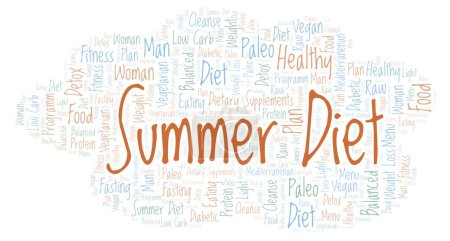 Summer Diet word cloud - illustration made with text only.
