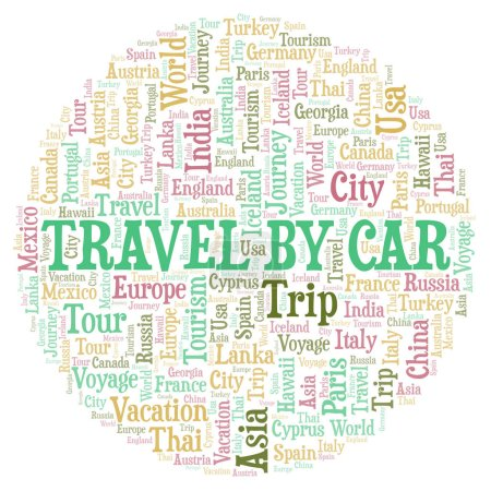 Travel By Car word cloud. Wordcloud made with text only.