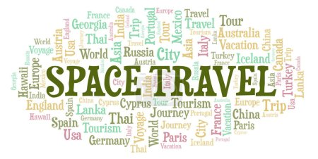 Space Travel word cloud. Wordcloud made with text only.