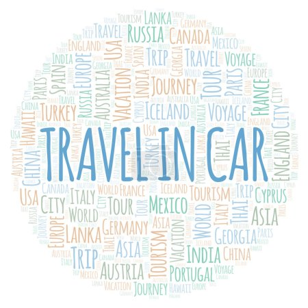 Travel In Car word cloud. Wordcloud made with text only.