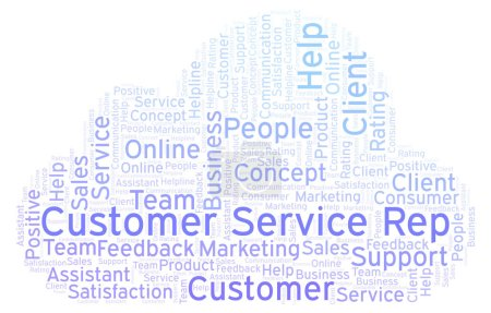 Customer Service Rep word cloud. Made with text only.