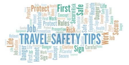 Photo pour Travel Safety Tips word cloud. Word cloud made with text only. - image libre de droit