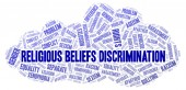 Religious Beliefs Discrimination - type of discrimination - word cloud. Wordcloud made with text only.