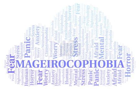 Photo pour Nuage de mot Mageirocophobia. Wordcloud faite avec uniquement du texte. - image libre de droit