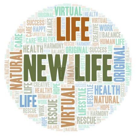 Photo pour Nuage de mot vie nouvelle. Wordcloud faite avec uniquement du texte. - image libre de droit