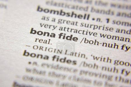 Photo pour Mot ou expression Bona fide dans un dictionnaire - image libre de droit
