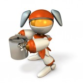 A cute robot holding a big pot. She is entertaining at specialty dishes. 3D rendering