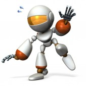 A cute robot that follows something. He is on the verge of falling.  3D illustration