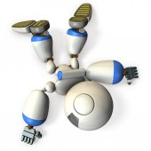 The dameged robot is stumbled in a stance. It is a dangerous situation. 3D illustration