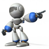 A cute robot that points to the right. It shows the direction to go. 3D illustration