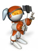 A cute robot that uses shooting sticks to enjoy shooting. 3D illustration