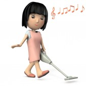 Cute woman with short hair with black hair. She is cleaning with a cordless cleaner. 3D illustration