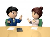 Male and female business people to discuss in the conference room. They are business partners who exchanges views constructively. 3D rendering