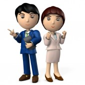 Two young business people wearing a suit. The man points and the lady is doing a guts pose. 3D illustration
