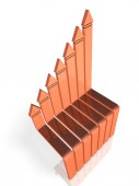 Arrow growing to the right rising. It represents friendly competition and growth. 3D illustration
