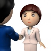 Two business people who shake hands. A pair of men and women. It depicts a business partner.  3D illustration