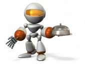 A cute robot offering a feast. White background. 3D illustration.