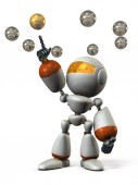 Multiple choices. The robot equipped with AI selects the optimum answer. 3D illustration. White background. Abstract image.