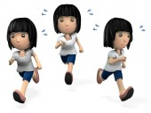 A young woman enjoys running. 3D illustration