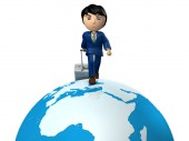 A young businessman traveling the world by pulling suitcase. Great globe. Africa and Europe. White background.