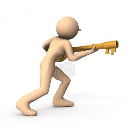 Photo pour Caractère avec une grande clé. Il essaie de révéler le secret. Fond blanc. Illustration 3d. - image libre de droit