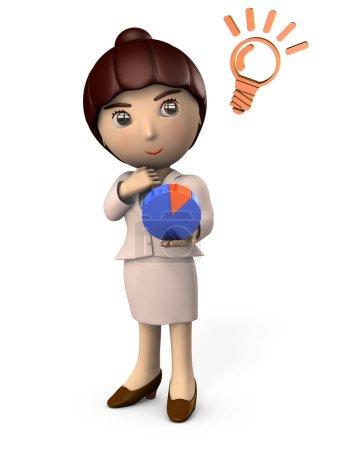 Photo pour Une jeune femme d'affaires qui regarde un graphique. Il s'agit d'une stratégie commerciale. Illustration 3D. Fond blanc . - image libre de droit