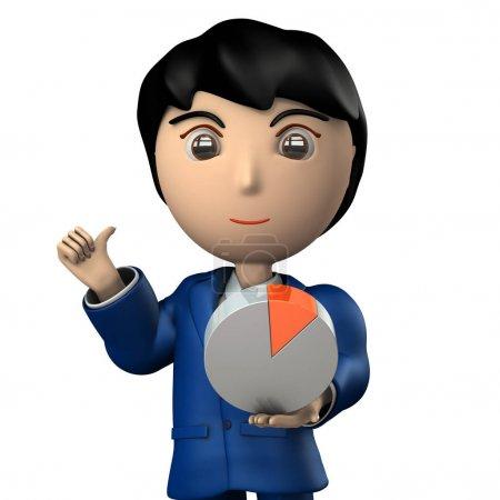 Photo pour Jeune homme d'affaires qui a des données. C'est une image conceptuelle qui représente le succès de la stratégie. Illustration 3D. Fond blanc . - image libre de droit
