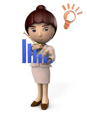 Photo pour Une travailleuse réfléchissant devant un graphique. Elle élabore une stratégie. Fond blanc. Illustration 3D . - image libre de droit